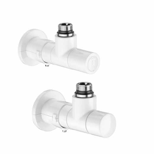 4001 - 角型互换型温控阀及回水阀组,搪瓷白色